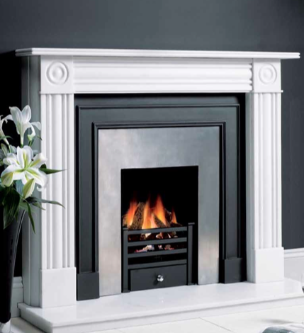 Belgravia matt black cast front with 8904 Polished insert panel
