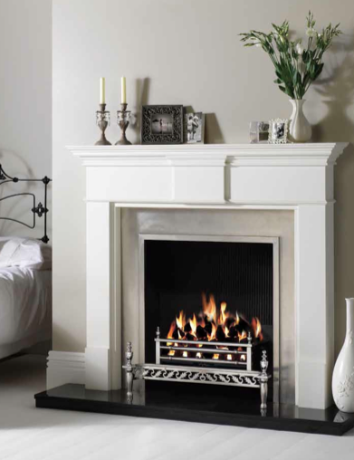 Chelsea Polished cast front. Also shown Pembroke warm white mantel, Gas Ascot fire basket.