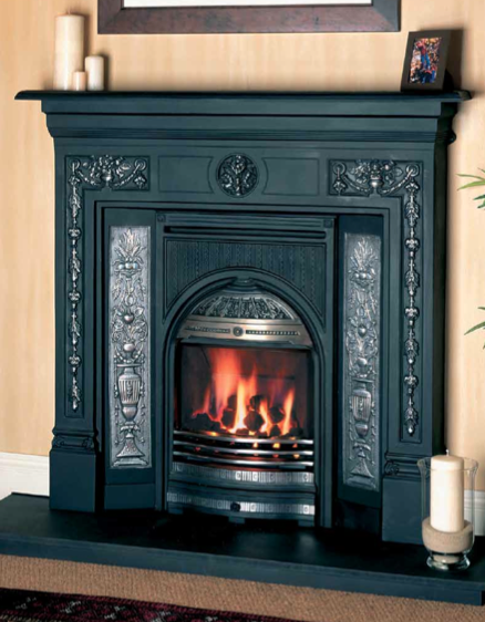 Combination Convector Fireplace, highlight polished