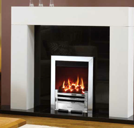 Logic-HE-Balanced-flue-fire,-coal-fuel-bed,-with-Pollished-Chrome-Arts-front-and-Polished-Stainless-Steel-effect-Box-Profil-frame
