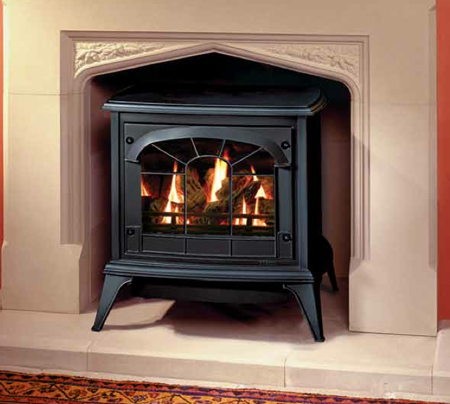 Medium-Gas-Clarendon-in-Matt-Black-with-tracery-door-and-log-effect-fire