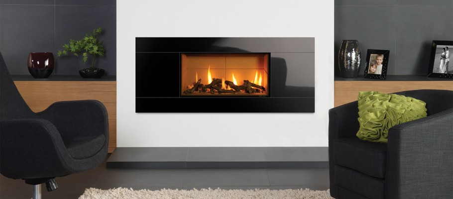 Studio 1 log with black glass frame from Gazco